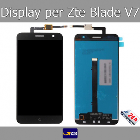 TOUCH SCREEN VETRO + LCD DISPLAY Assemblati Per ZTE Blade V7 Nero GLS 24H!