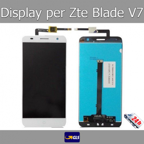 TOUCH SCREEN VETRO + LCD DISPLAY Assemblati Per ZTE Blade V7 Bianco GLS 24H!