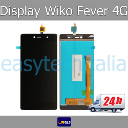 TOUCH SCREEN VETRO + LCD DISPLAY ASSEMBLATI Wiko Fever 4G Nero - SPEDITO GLS 24H